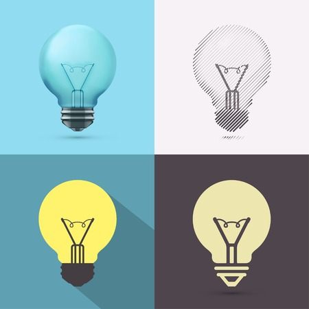 Isolated bulb in different styles of drawing (photorealism, sketch, flat and icon), eps 10