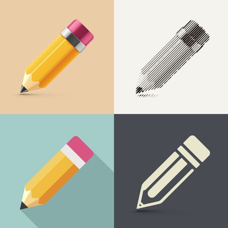 photorealism: Isolated pencil in different styles of drawing (photorealism, sketch, flat and icon), eps 10