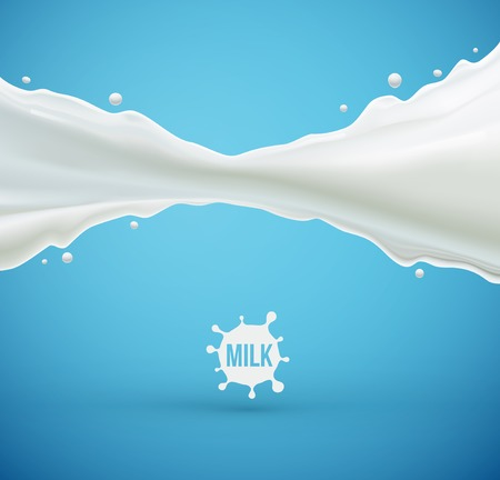 Milk splash background, eps 10 Çizim