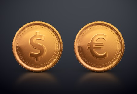dollar coins: Coin dollar and euro Illustration
