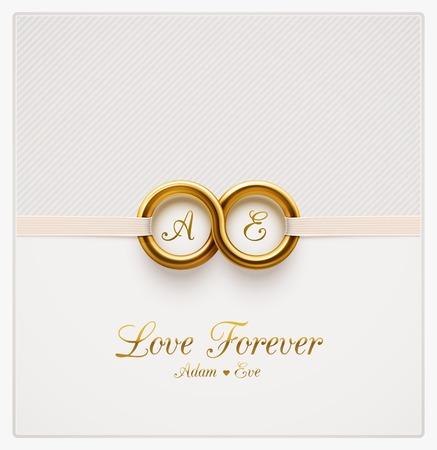 婚禮: 永遠的愛,婚禮請柬 向量圖像