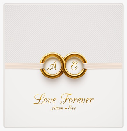 ślub: Miłość na zawsze, zaproszenie na ślub Ilustracja
