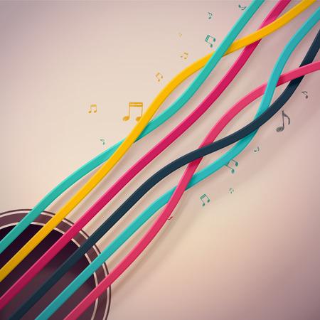 guitarra: Cuerdas de la guitarra de colores, eps 10
