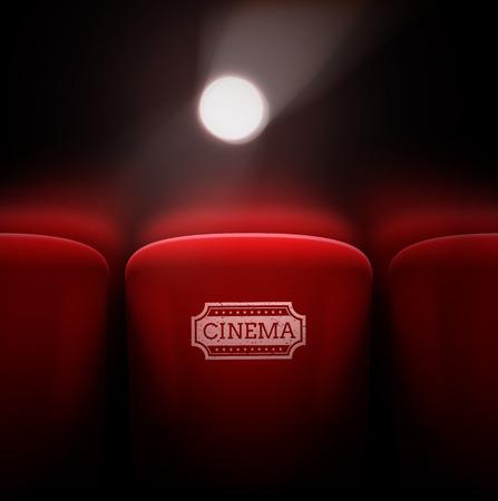 cinema auditorium: Cinema seats, projector light,