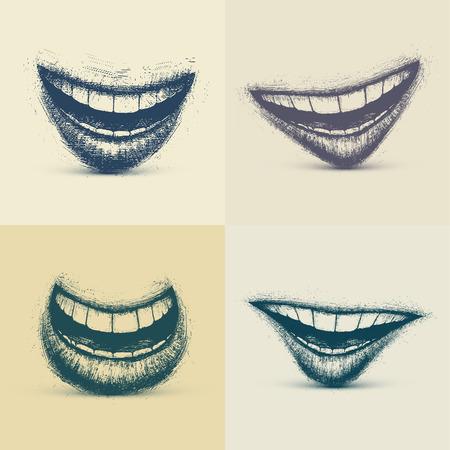 dientes sucios: Conjunto de sonrisas en el estilo grunge, eps 10 Vectores