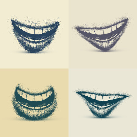 Set of smiles in grunge style, eps 10