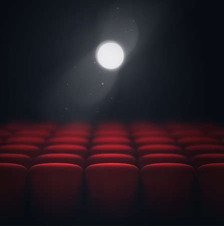 at the theater: Cinema hall, light projector, eps 10