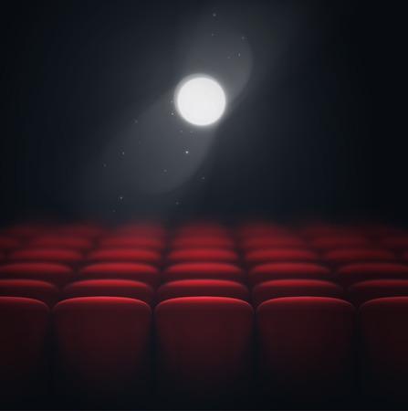 teatro: Sala de cine, proyector de luz, eps 10 Vectores