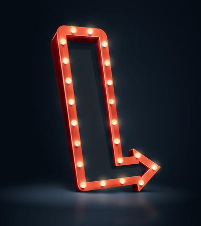 テキスト用のスペースを持つ 3 D 矢印。