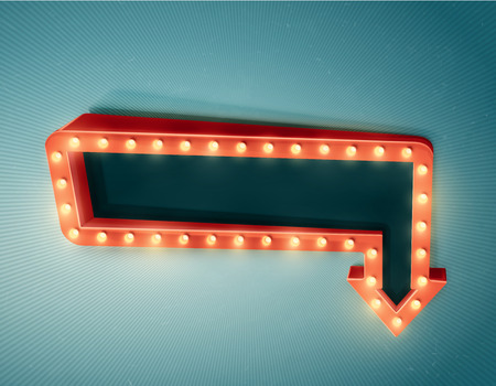 neon light: Retro arrow with space for text. Illustration