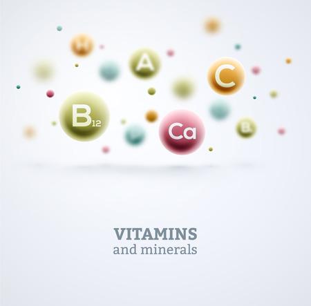 Vitamíny a minerály pozadí Ilustrace