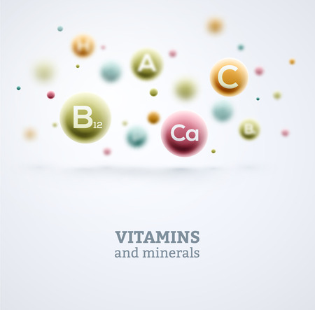 witaminy: Witaminy i składniki mineralne w tle Ilustracja