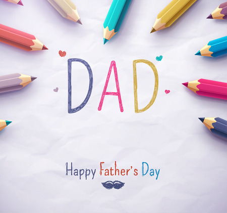 hand colored: Poster for Happy Fathers Day with color pencils, eps 10