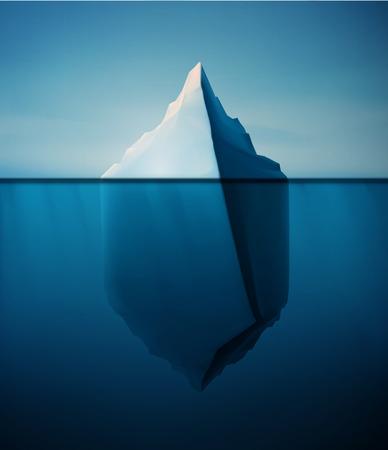 cielo y mar: Iceberg de hielo en concepto de agua de vectores de fondo