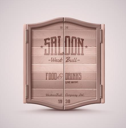 Old western swinging saloon door, eps 10  イラスト・ベクター素材
