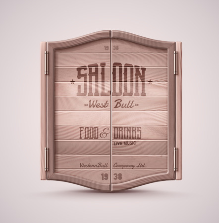 Old western swinging saloon door, eps 10 Çizim