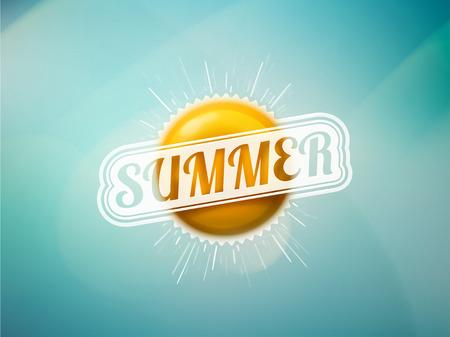 Sommer-Sonne auf blauem Hintergrund, Illustration