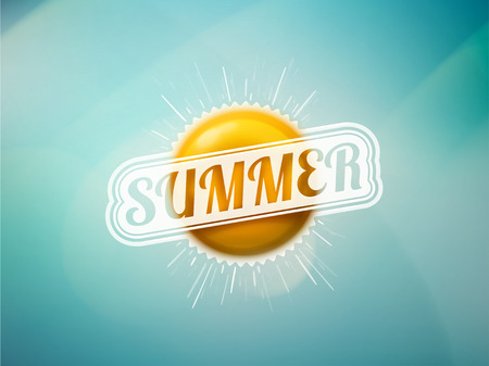 Summer sun on blue background,