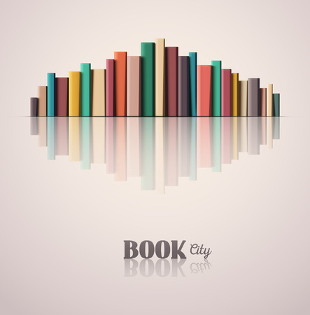 old book cover: Stack of color books, book city,  Illustration