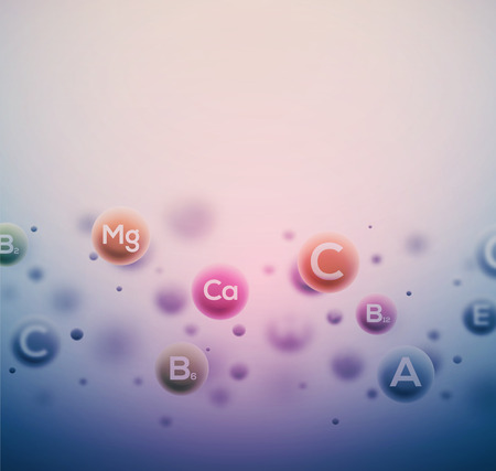 molecule symbol: Abstract vitamins background,