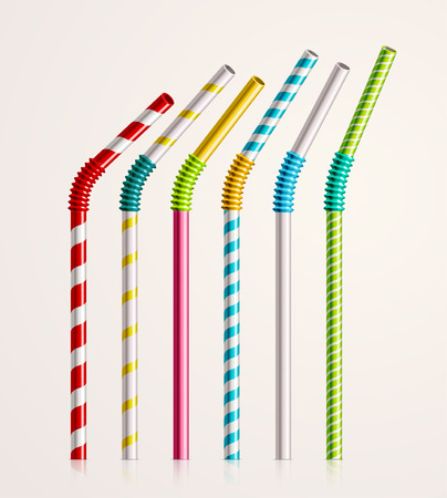 Set colorful drinking straws,