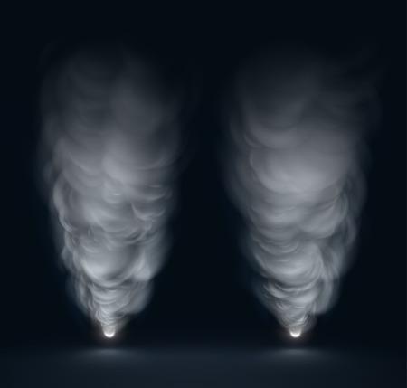 Izolované bílý kouř na tmavém pozadí,