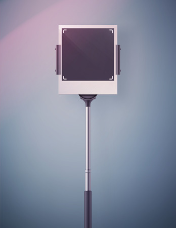 Monopod selfie, blank retro photo frame, eps 10