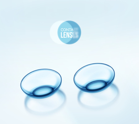 eye contact: Isolated contact lenses Illustration