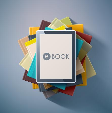 E-book, stack of books  イラスト・ベクター素材
