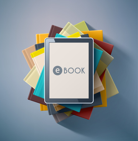 the reader: E-book, stack of books Illustration
