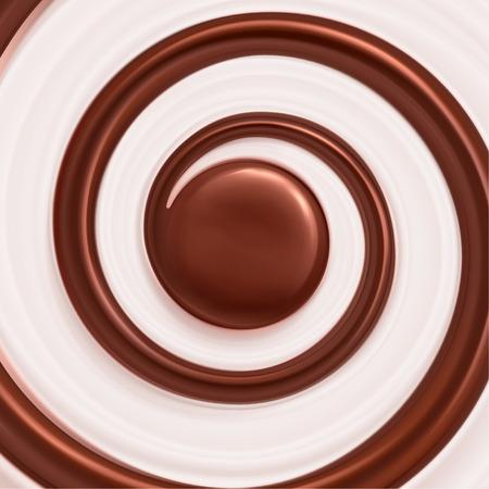Sweet swirl background, cream and chocolate
