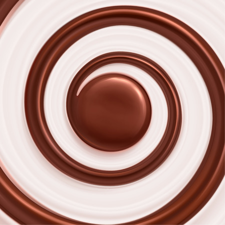 Sladký víření pozadí, smetana a čokoláda Ilustrace