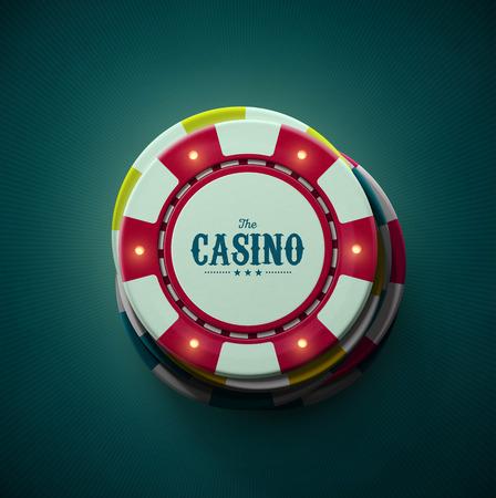 カジノのチップ、トップ ビュー  イラスト・ベクター素材
