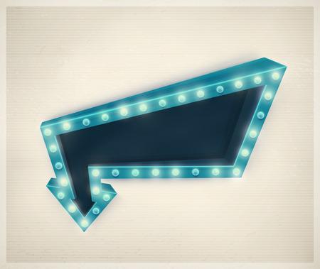 3D retro arrow, vintage banner