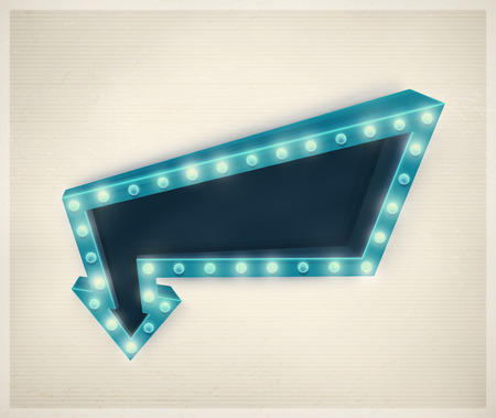 3D retro arrow, vintage banner