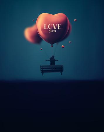 Romantische achtergrond, liefdesverhaal