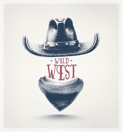 Kovbojský klobouk a šálu, divoký západ Ilustrace