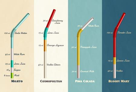 Cocktail Rezepte-Sammlung, eps 10