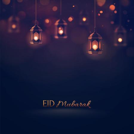 faroles: Eid Mubarak, fondo saludo,