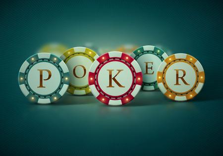 Barevné pokerové žetony, eps 10 Ilustrace