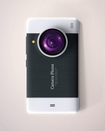 zoom: Camera Phone with lens,  Illustration