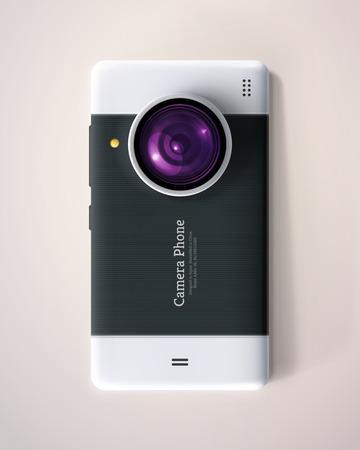 Telefon s fotoaparátem s objektivem,