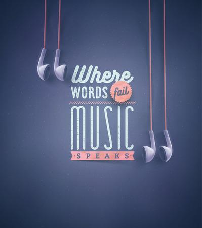audifonos dj: Plantilla para citas de la música, eps 10 Vectores