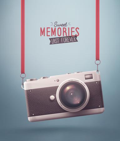 レトロなカメラ、甘い思い出、eps 10 をぶら下げ  イラスト・ベクター素材