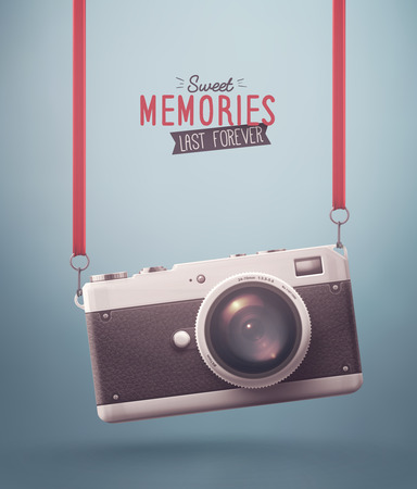 photographic film: Hanging retro camera, sweet memories, eps 10