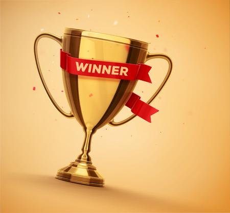 Vítěz zlatý pohár s červenou stuhou, eps 10 Reklamní fotografie - 43327743
