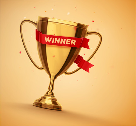 winner: Winner gold cup with red ribbon, eps 10
