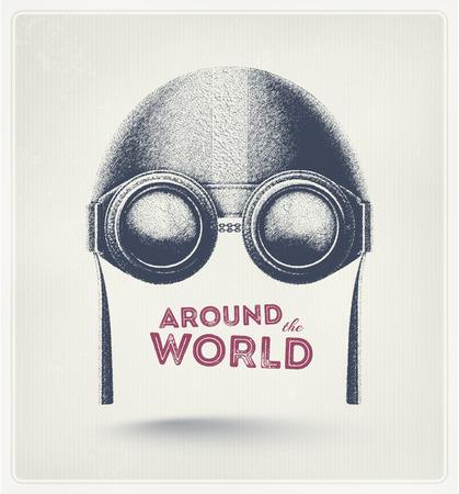 Pilot helmet and goggles, around the world  Vettoriali