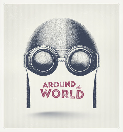 Pilot helmet and goggles, around the world  Stock Illustratie
