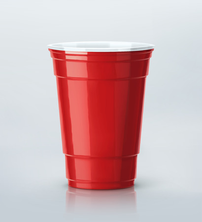 ping pong: Aislado taza del partido rojo Vectores